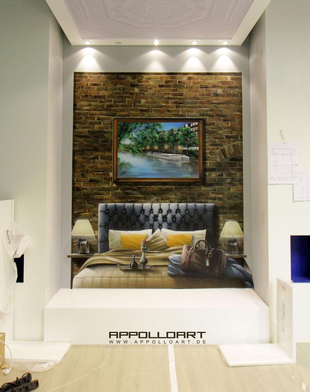 Airbrush Gemälde Indoor Innenraum Ausstellung Wandgestaltung Hotelzimmer Illusion Dekoration Graffiti Fotorealismus realistisch