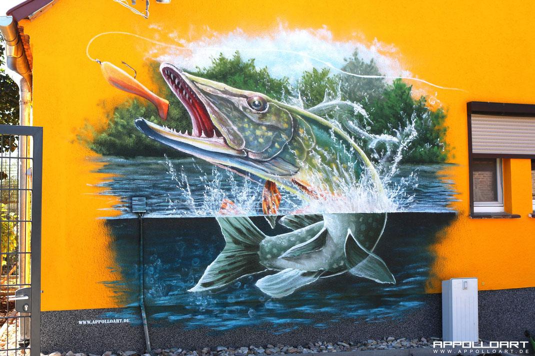 Graffiti an der Hauswand Airbrush im Eigenheim