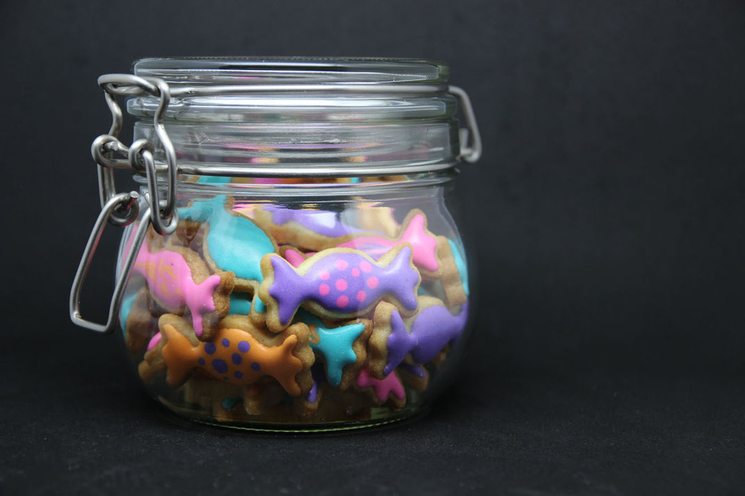 candy jar with cute selfmade cookies