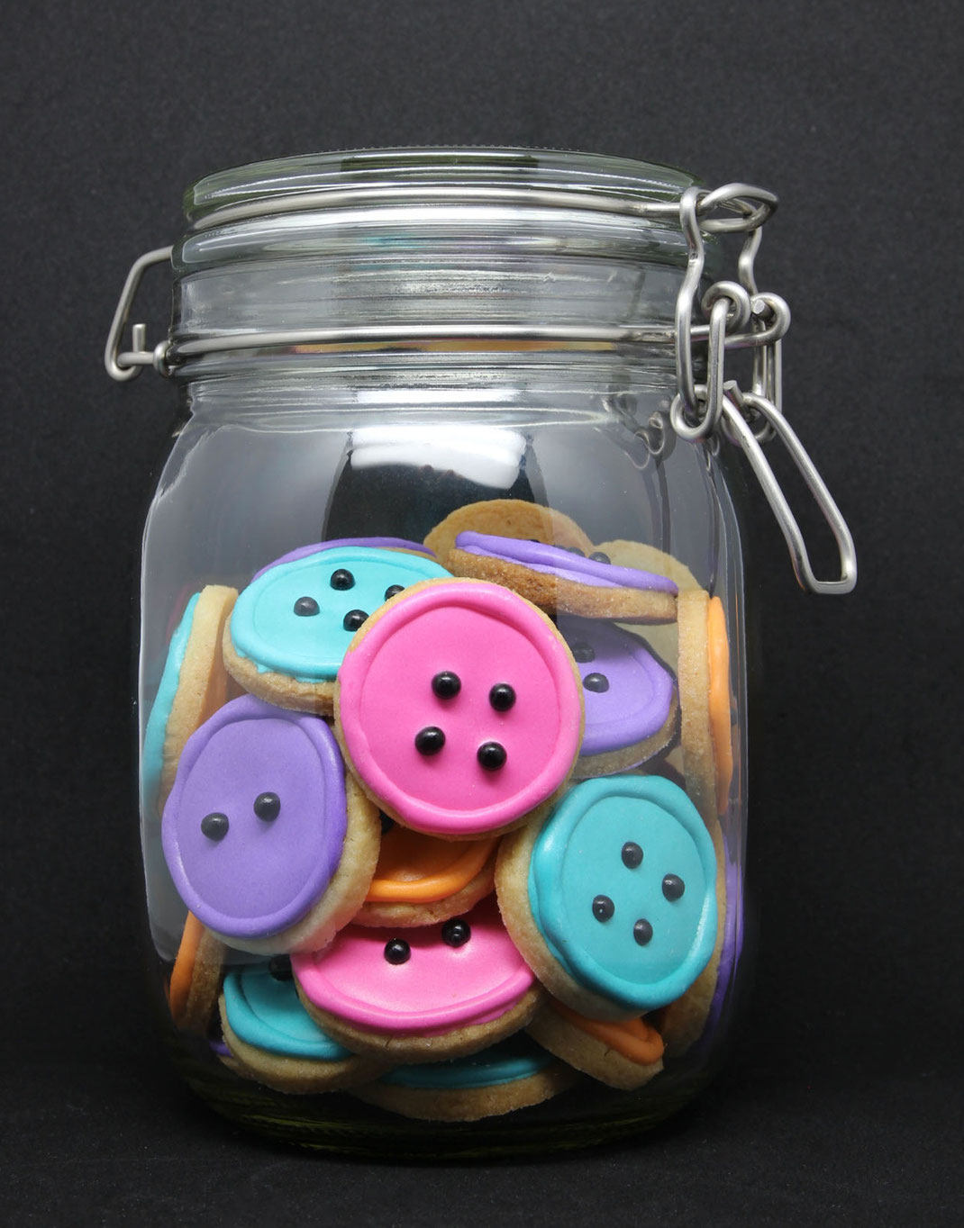 button jar with cookies  - super cute as present