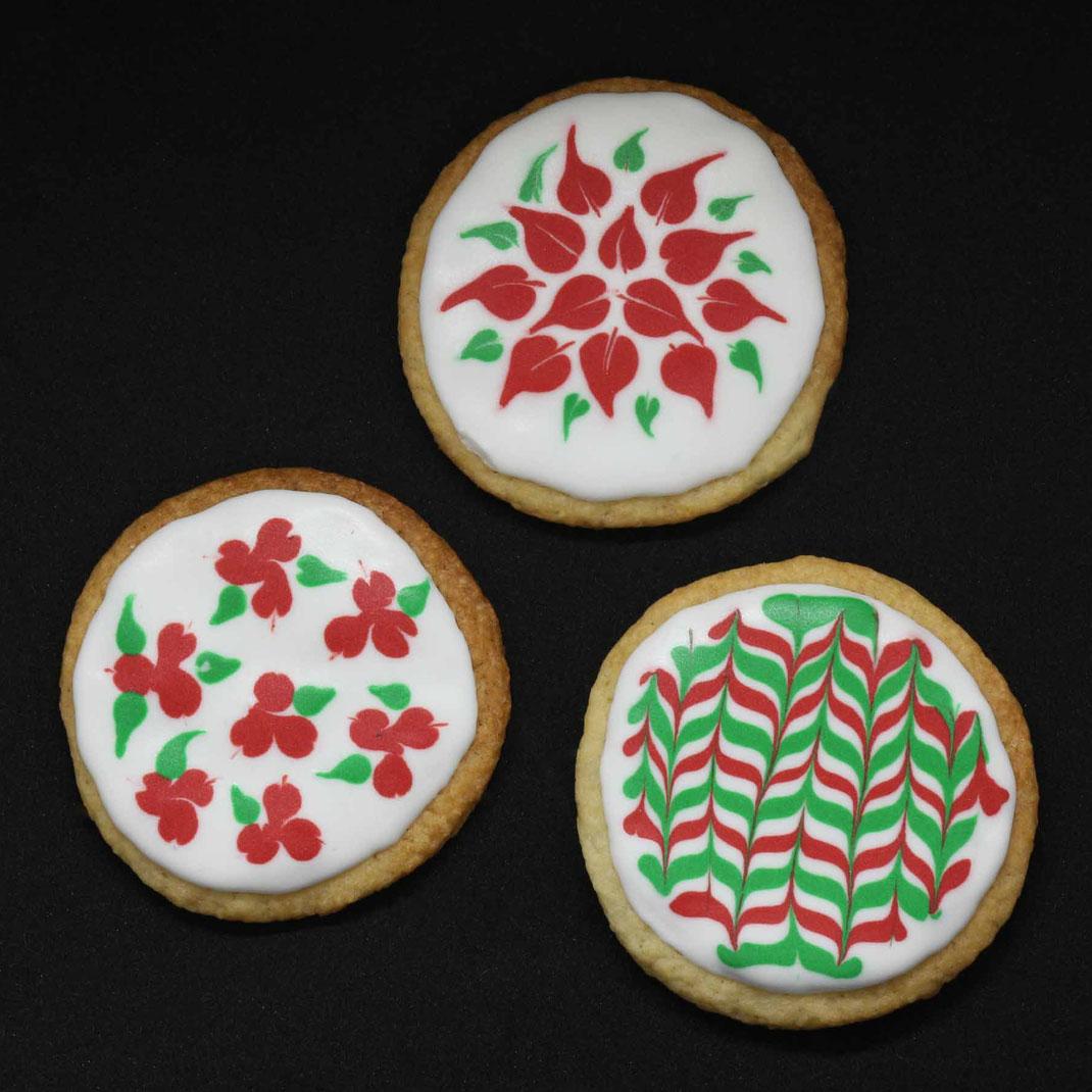Weihnachts-Plätzchen mit Muster - 3 Arten