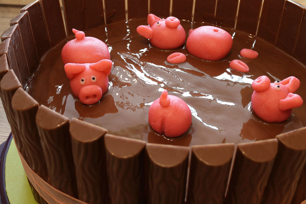mud cake with swimming piglets