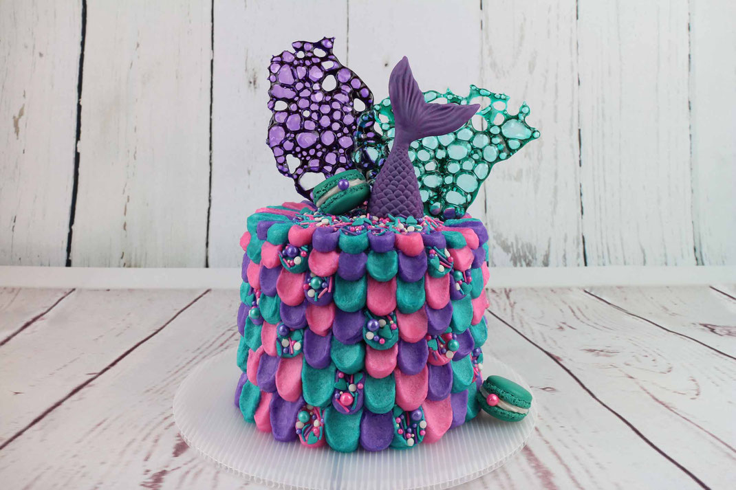 mermaid cake with sugar foam and macarons