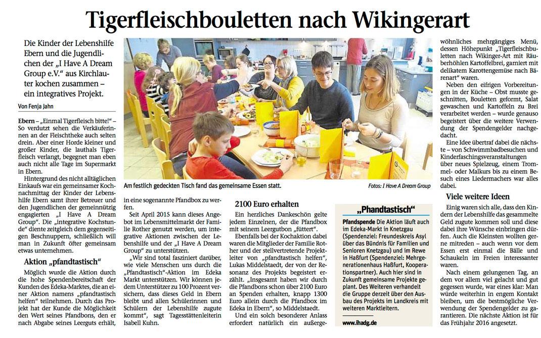 Erstes Resultat der Pfandbox in Ebern: Ein integrativer Kochnachmittag zwischen der Lebenshilfe Ebern und unserem Verein