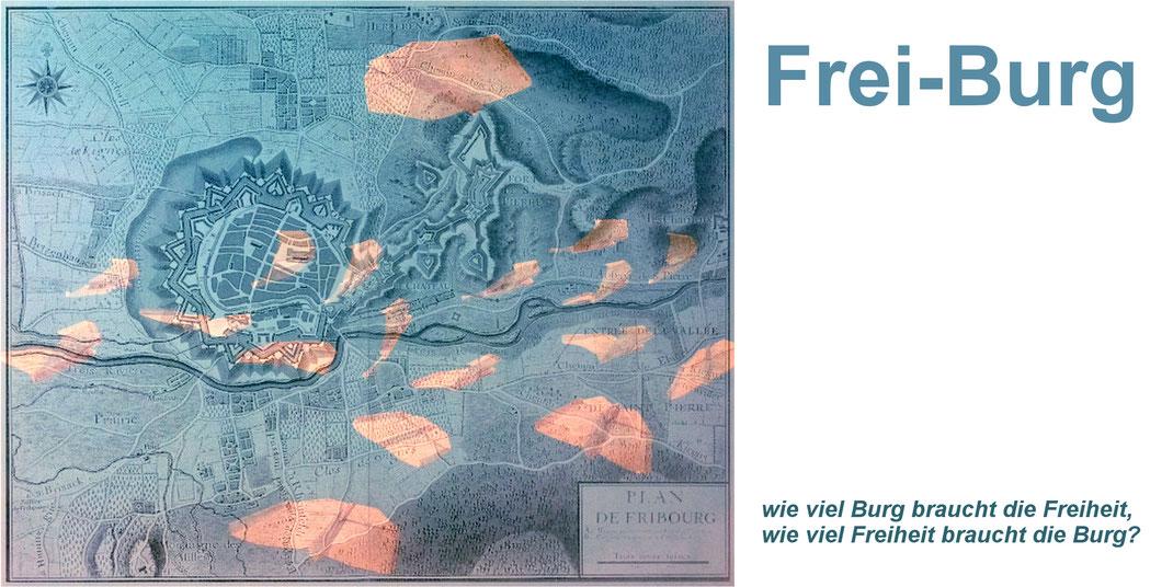 digitale Collage für den Flyer zur Ausstellung von U. Schubert/Verwendung eines Bildes von A. Burrer und historischem Festungsplan