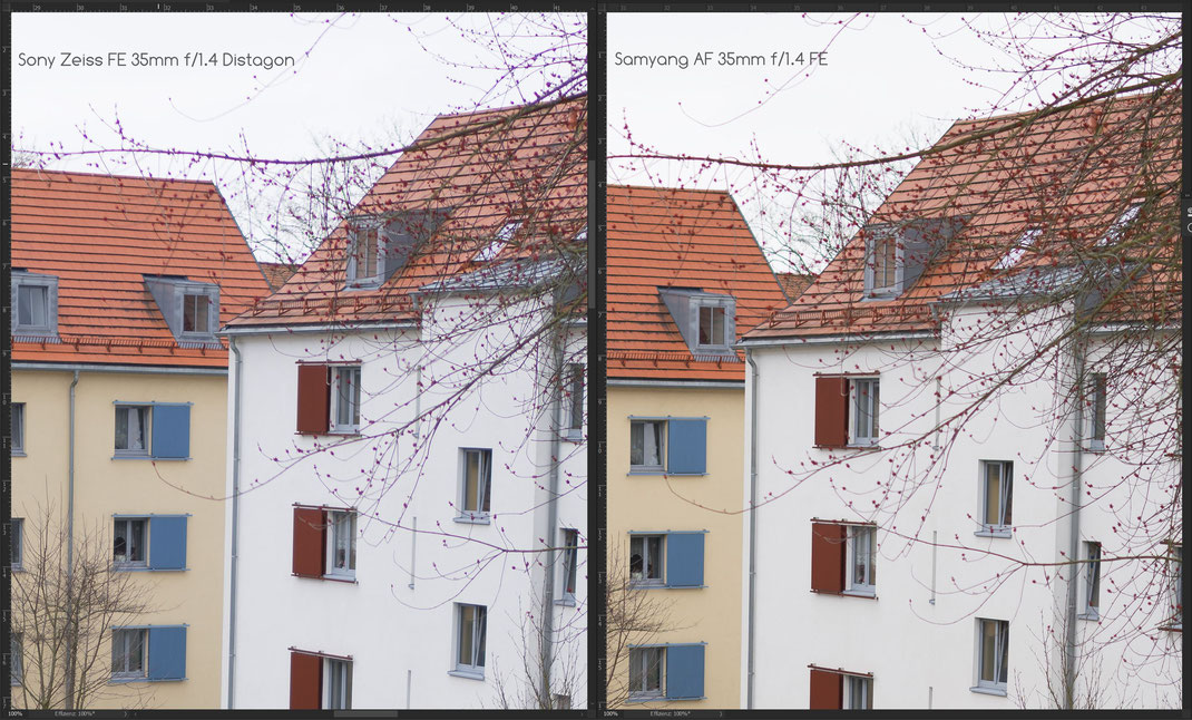 Sony Zeiss FE 35mm f/1.4 Distagon vs. Samyang AF 35mm f/1.4 FE, chromatische Aberrationen.