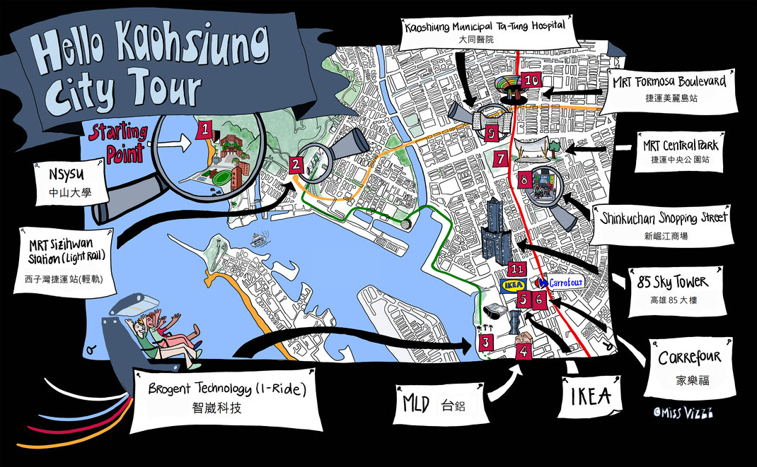Graphic Recording Berlin Map of Kaohsiung, Taiwan Digital Drawing by MissVizzz