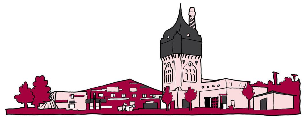 Illustrationb / Zeichung vom Kulturzentrum Schlachthof, Wiesbaden. Gezeichnet von MissVizzz.