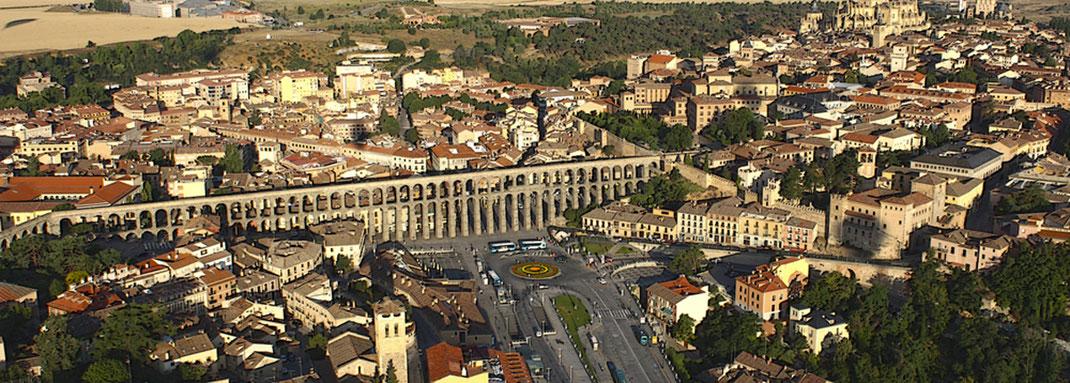Vista aérea del Acueducto de Segovia