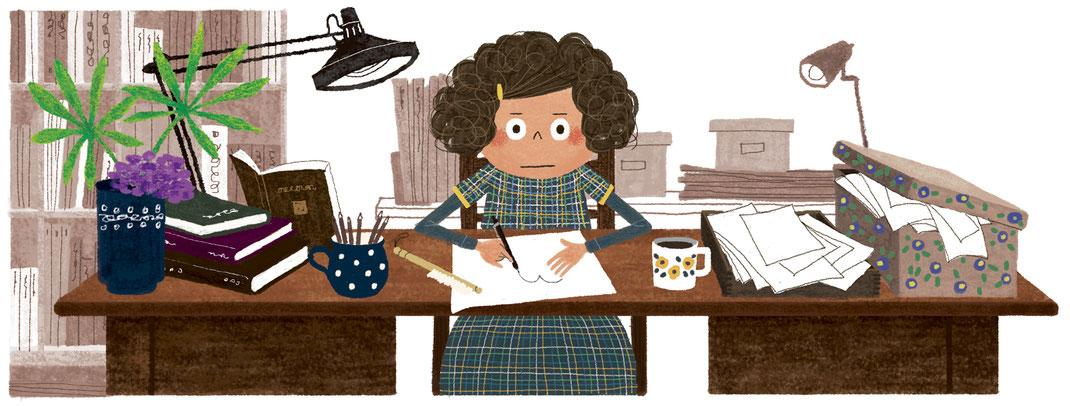 仕事机で絵を描いている女の子のイラスト
