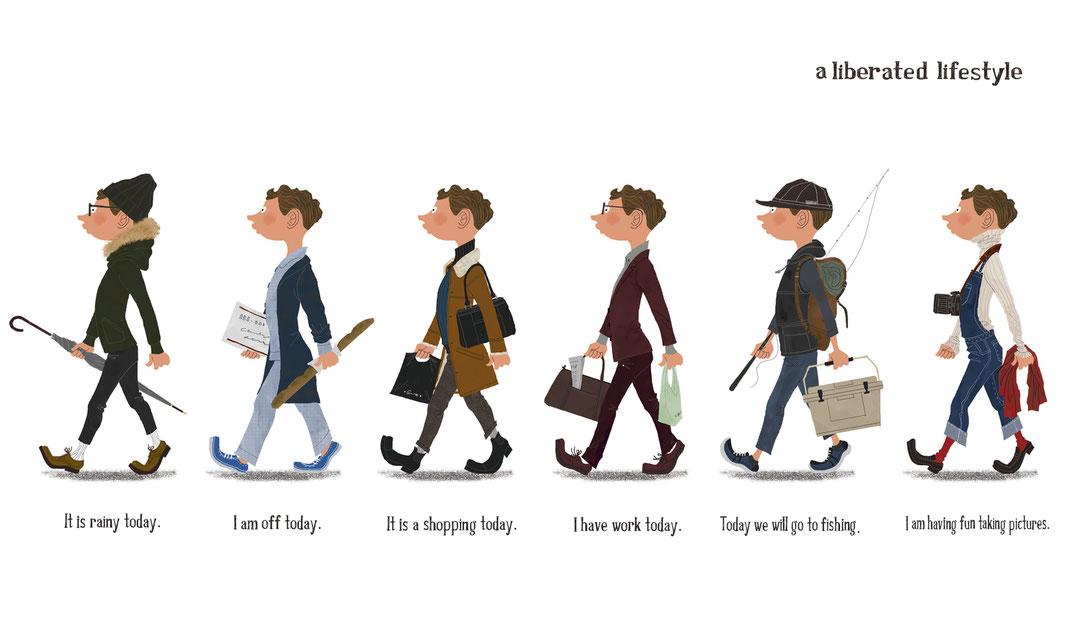 6種類のいろんなファッションをした男性のイラスト