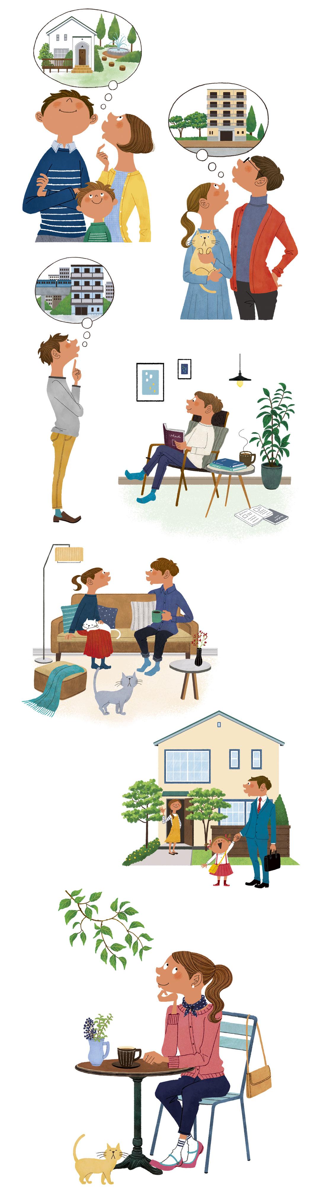 家と人々カフェと女性のイラスト