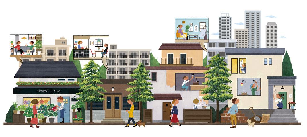リノベーション中のおしゃれな街のイラスト