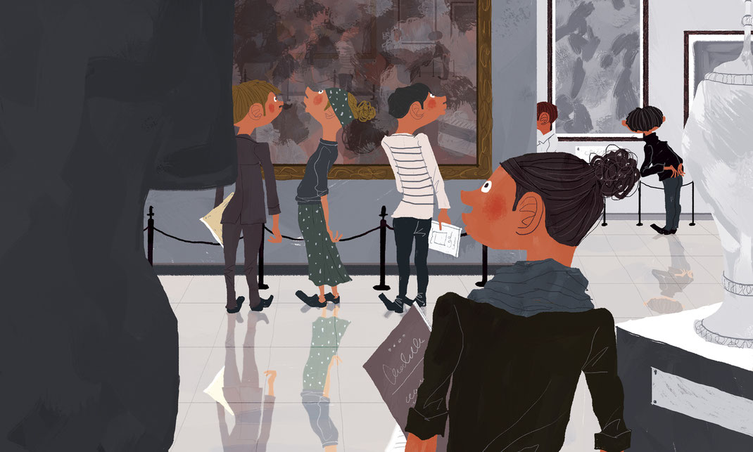 美術館で鑑賞しているたくさんの人のイラスト