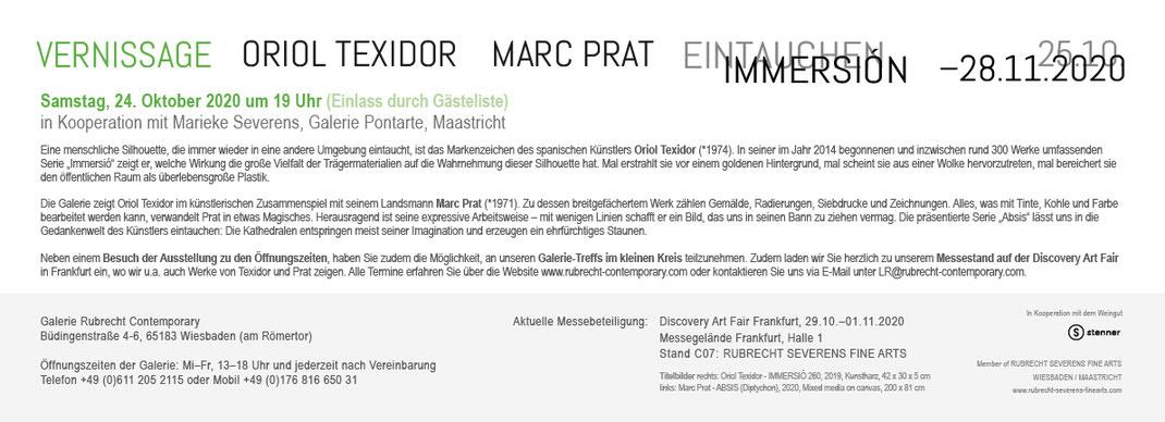 ORIOL TEXIDOR + MARC PRAT | EINTAUCHEN IMMERSIÓN | 25.10.–28.11.2020