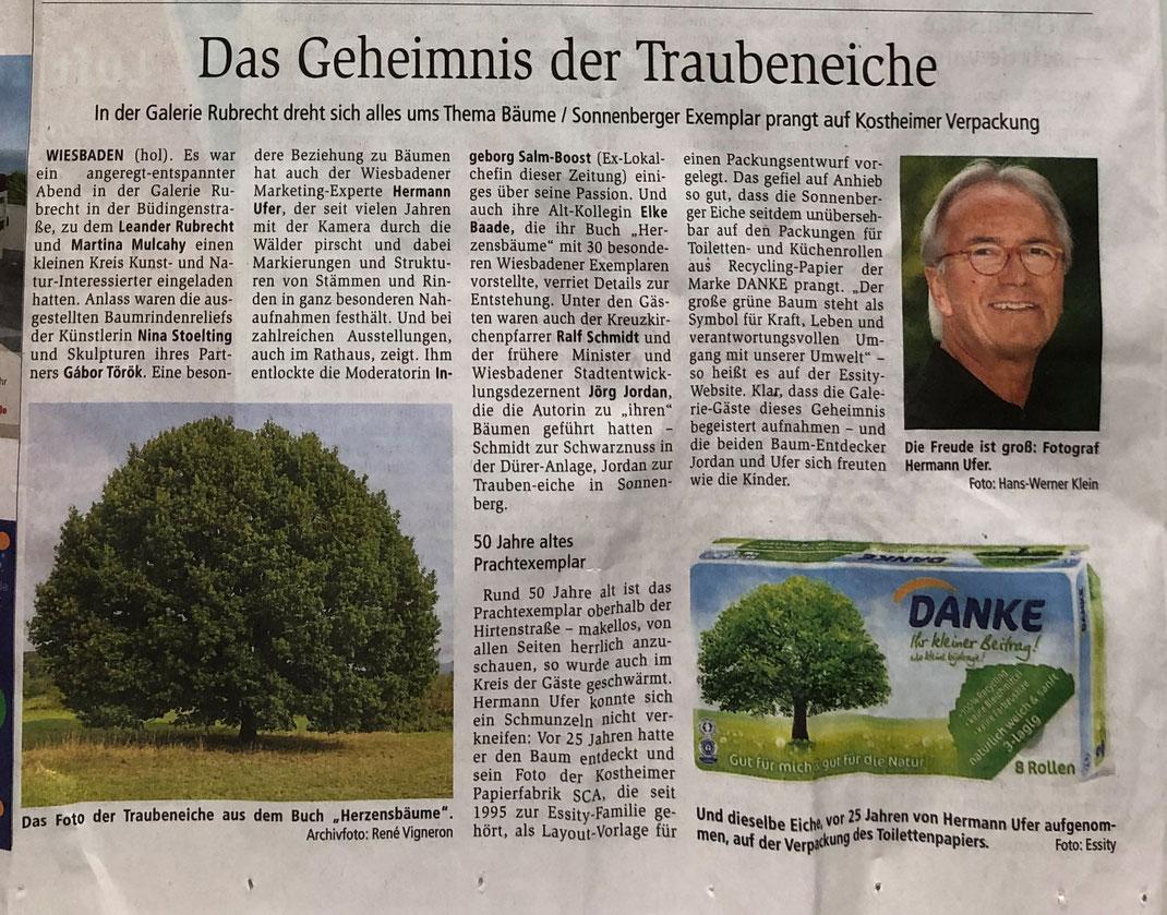 Wiesbadener Kurier:  Das Geheimnis der Traubeneiche – In der Galerie Rubrecht dreht sich alles ums Thema Bäume, 15.08.2020