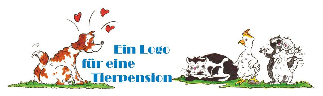 Logo für eine Tierpension Cartoons von Hund, Katze, Kakadu und Frettchen