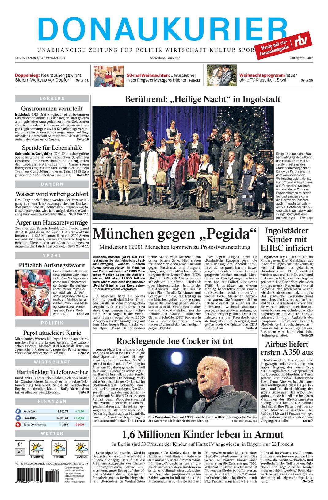 Donaukurier gesamt Titelseite 23.12.2014