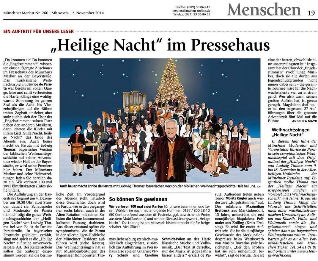 """Merkur Gesamtausgabe vom 12.11.2014 zur Merkur-Leseraktion """"Heilige Nacht"""" und zum """"Münchner Weihnachtssingen Heilige Nacht"""" 2014"""
