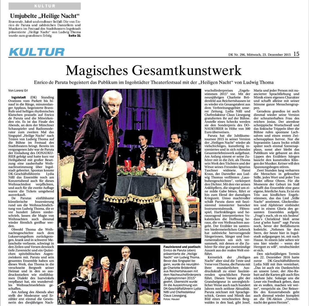 Donaukurier Gesamtausgabe Kultur v. 23.12.2015