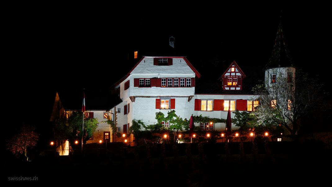 Das beleuchtete Schloss Weinstein von Marbach in der dunklen Nacht