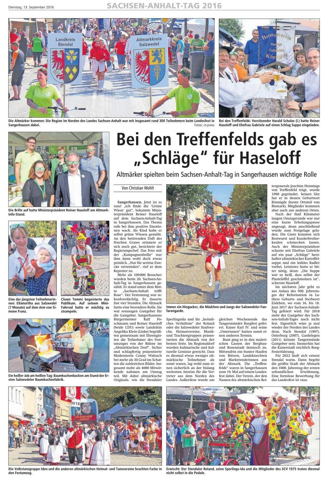 Altmark-Zeitung vom 13.09.2016, von Christian Wohlt