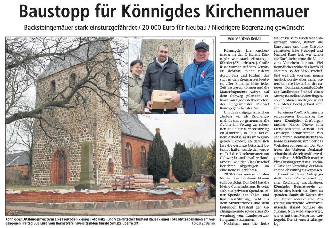 Altmark-Zeitung vom 20.03.2018, von Marilena Berlan