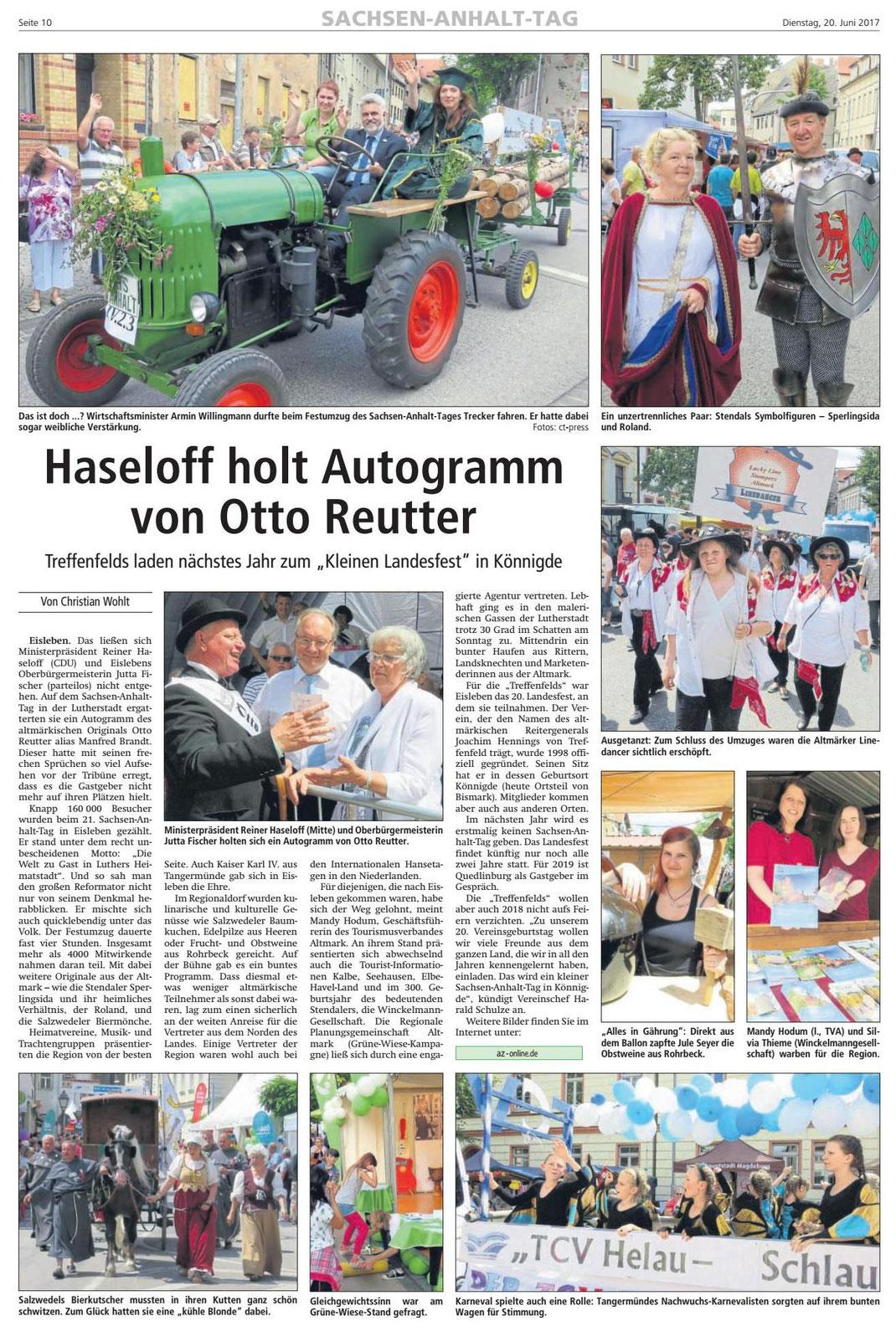 Altmark-Zeitung vom 20.06.2017, von Christian Wohlt
