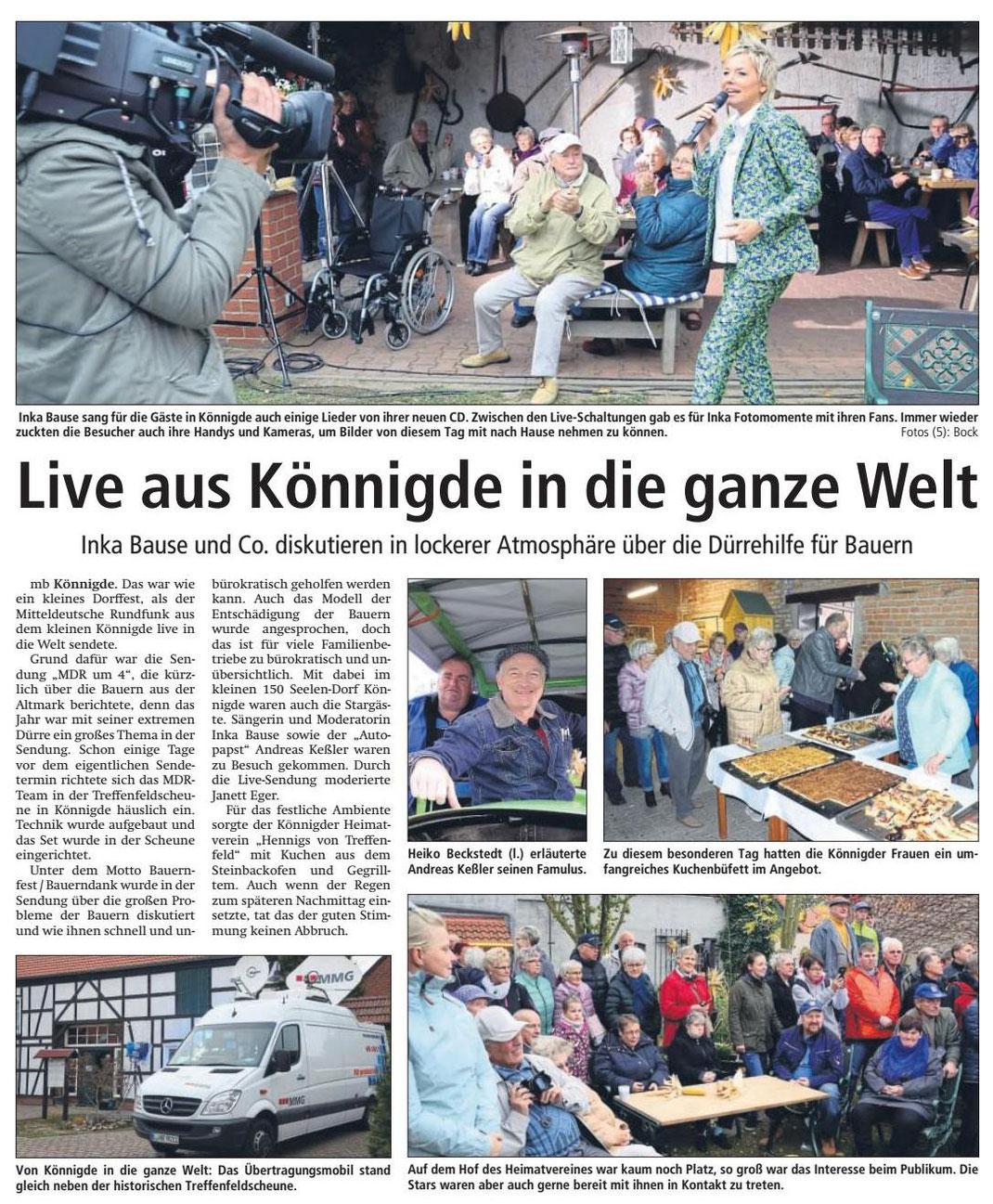 Altmark-Zeitung vom 06.11.2018, von Maik Bock