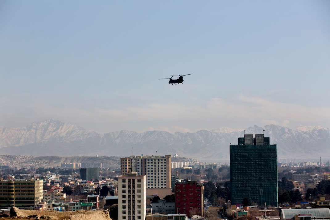 helicopter overlying kabul