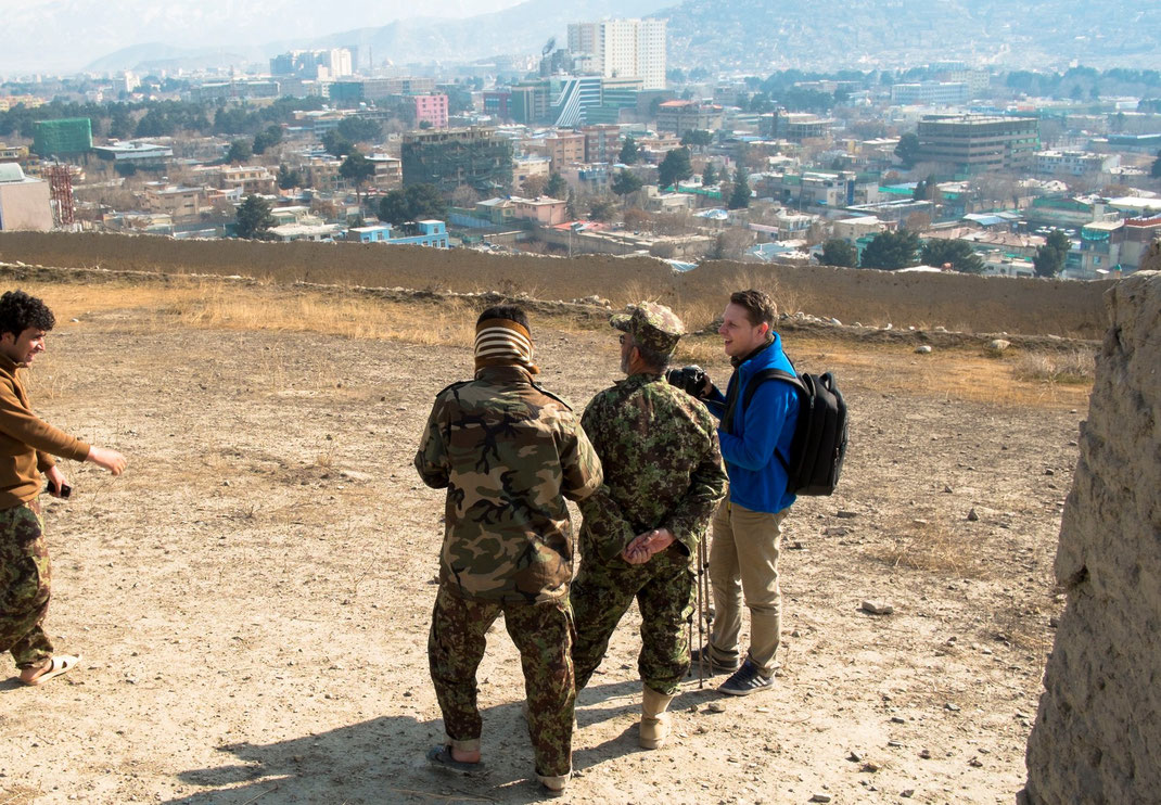 journalist and soldiers in kabul