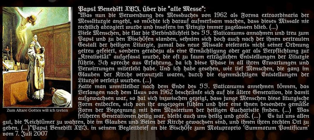Papst Benedikt XIV über die Alte Messe