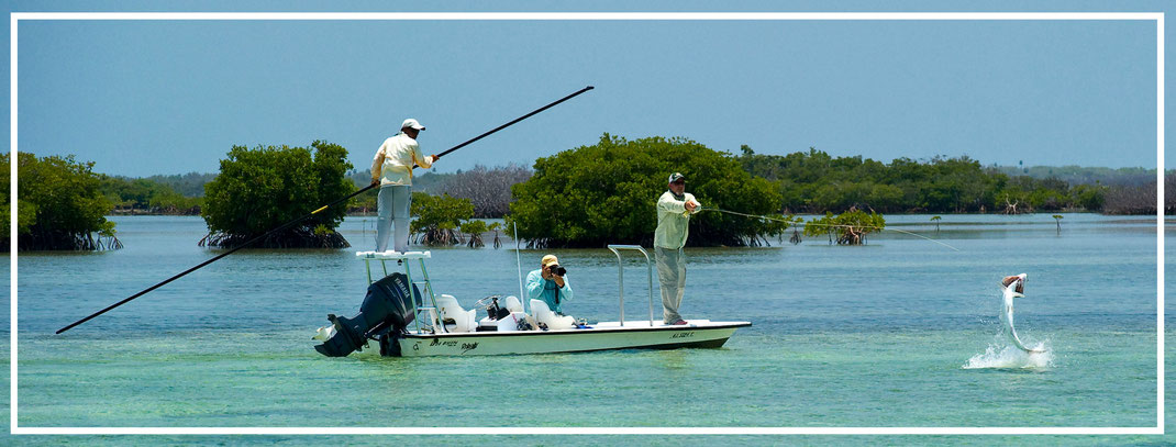 Fly fish Cuba, FFTC.club saltwater destination,Skiff with Fly fisher fighting Tarpon, Fly fish saltwater adventure for bonefish, permit, and tarpon. Cayo Cruz, Cayo Santa Maria, Cayo Largo, Isla de la Juventud.