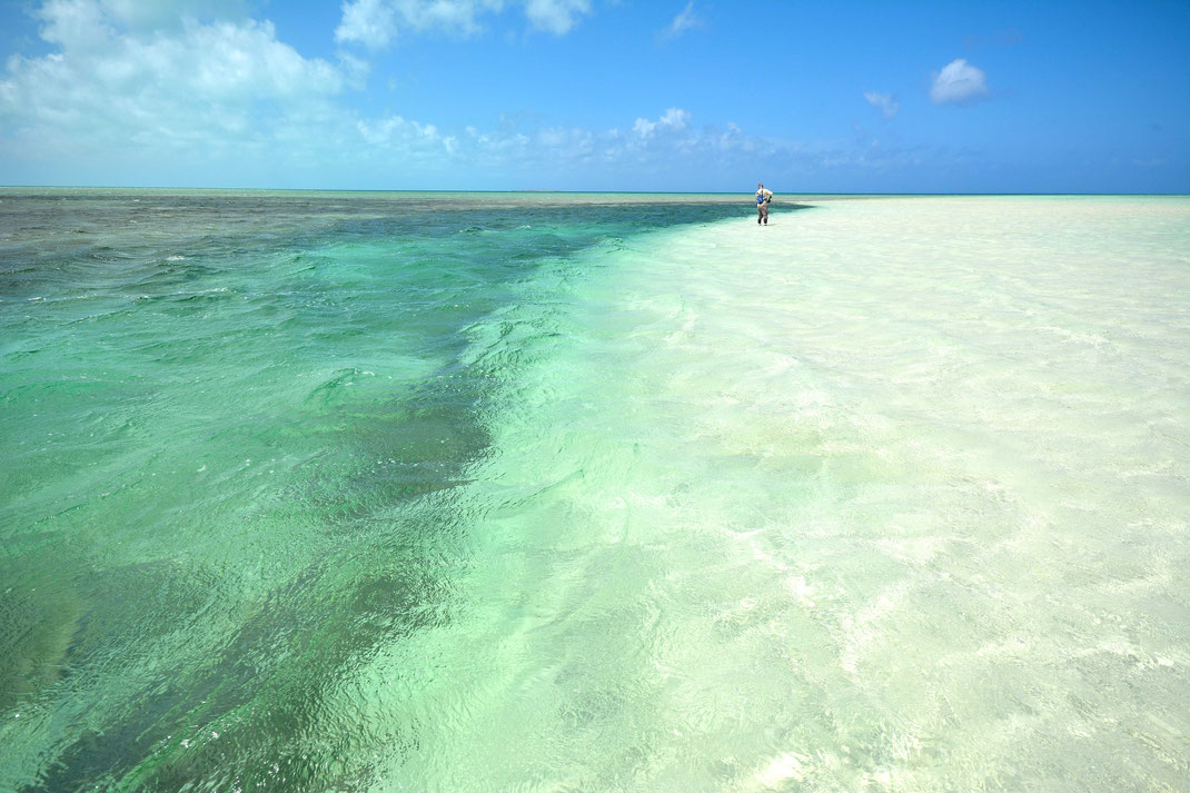 Fly fish Bahamas, FFTC.club saltwater destination, Crooked Island and Acklins, fly fishermen on the beach, Fly fish saltwater adventure for bonefish, permit, triggerfish, sharks, jacks, barracuda.