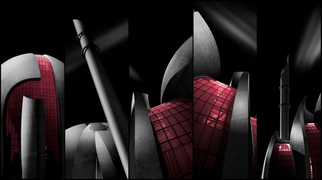 Foto-Serie der DITIB Zentralmoschee in Köln als dunkle Schwarzweiß-Darstellung mit rot getönten Fenstern von Tobias Gawrisch (Xplor Creativity)