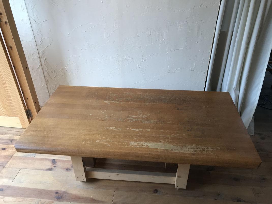食堂テーブル塗装前