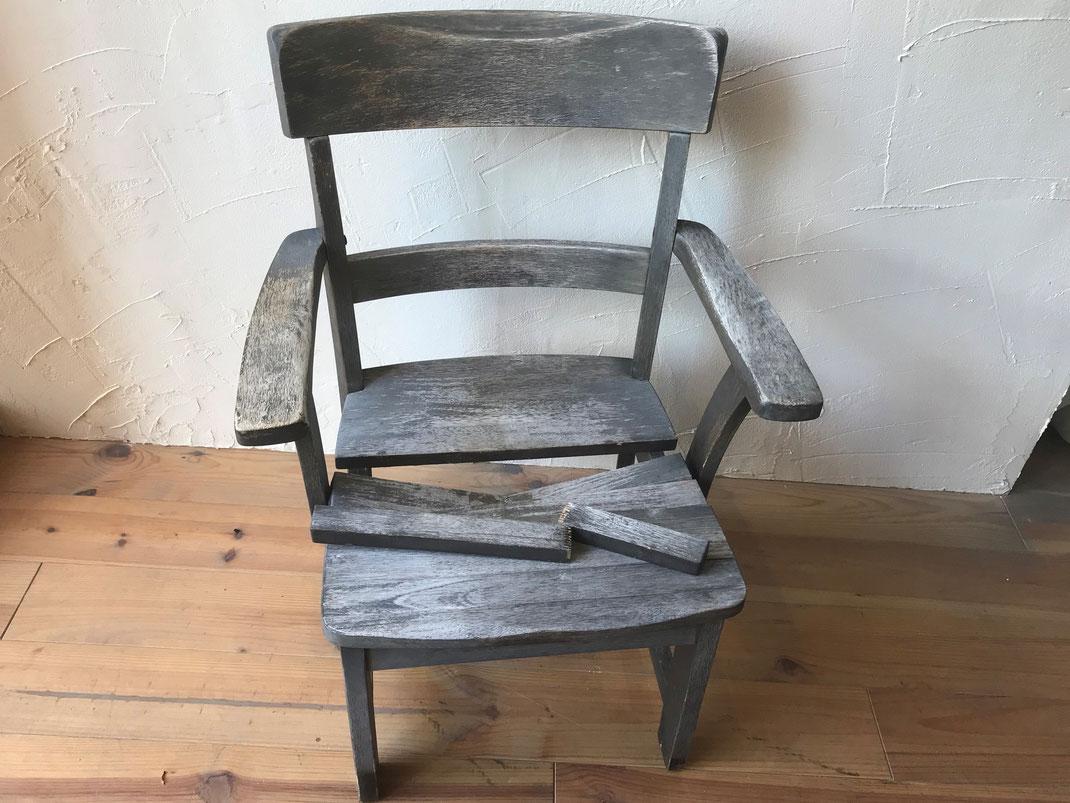 肘掛椅子修理前
