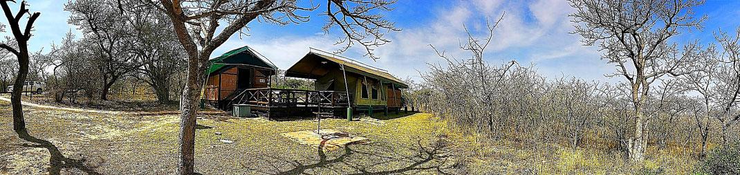 Das Tented Camp im Mpila Resort. Mitten in der wilden Natur.