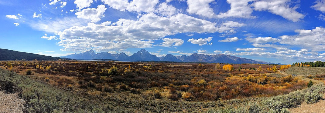 Was ein Panorama im Grand Teton Nationalpark im Nord-Westen der USA.