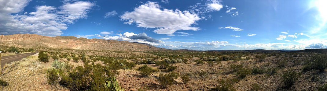 Panorama des Big Bend Nationalparks. Nahe Mexiko.
