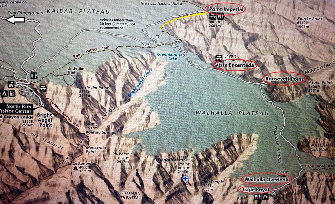 rot markiert: angefahrene Ausichtspunkte gelb: gelaufener Trail