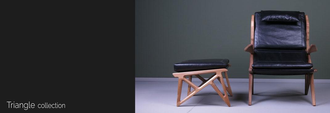 Triangle-mit-Sessel-und-Hocker-von-Hookl-und-Stool-mit-Lederbezug