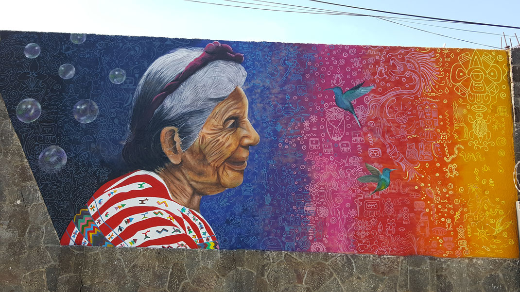 Mural in San Lucas Tolimán, Guatemala, Hotel Tolimán, ca. 7 x 3 m, 2018