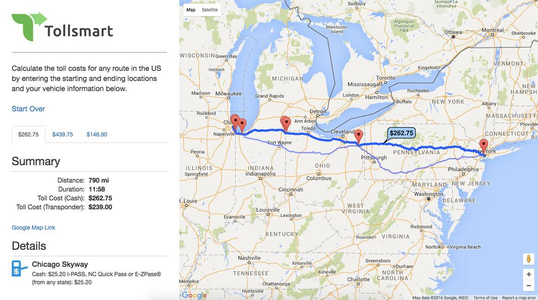 Toll Roads In Chicago Map.Free Truck Toll Calculator Tollsmart Toll Calculator