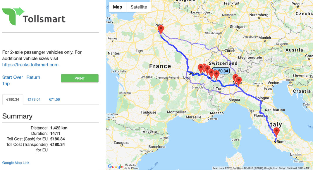 Cost of tolls from Rome to Paris