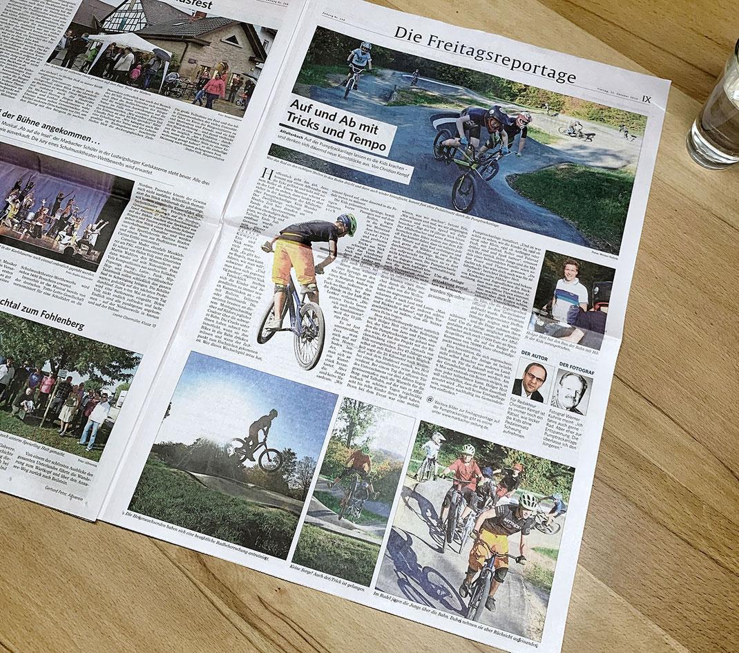 Foto der Freitagsreportage über den Pumptrack in Affalterbach in der Marbacher Zeitung