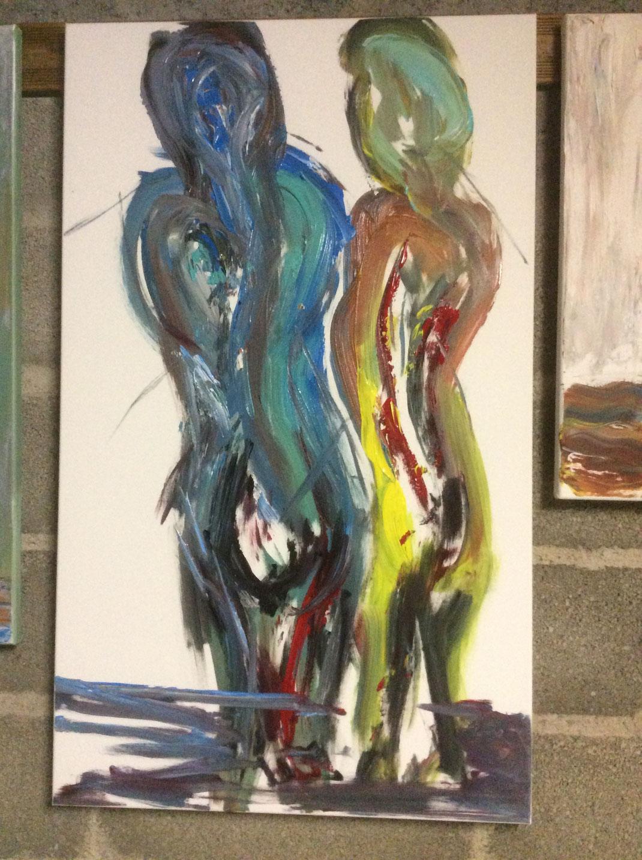 Langzaam komt een metamorfose tot stand, dit schilderij is er een begin van.....(Het schilderij is verkocht)