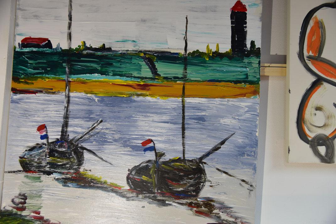 Haven met botters en dorps toren. (Dit schilderij hing jaren op mijn kantoor en is nu te koop)   450,=
