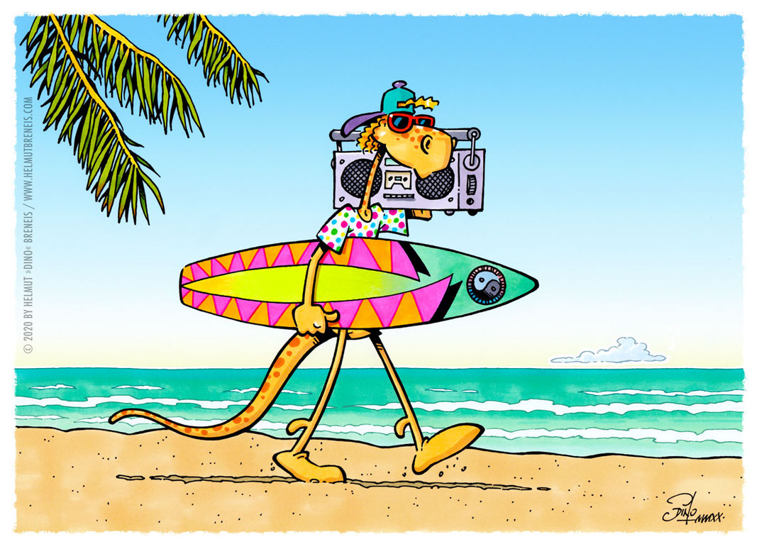 Dino-Blog, Helmut »Dino« Breneis, Dinos, Sommer, Sonne, Meer, Strand, Surfen, '80er, Cartoon, Copic, Tusche, Photoshop
