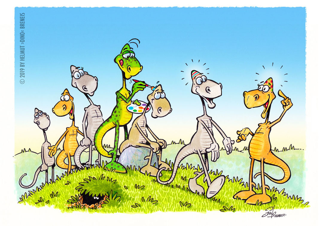 Dino-Blog, Helmut »Dino« Breneis, Dinos, Ostern, Eierköpfe, Cartoon, Copic, Tusche